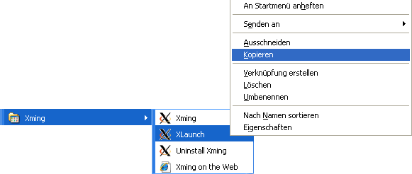 Screenshot: XLaunch im Startmenü